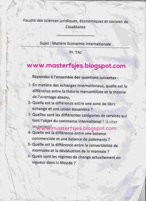 Master Economie Internationale