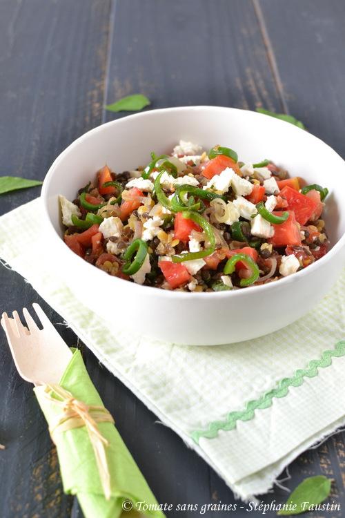 Salade aux deux lentilles et feta