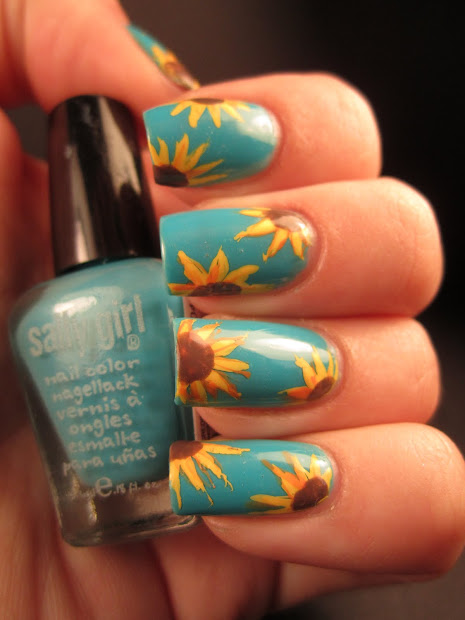 Jessica' Nail Art Sunflowers In Sky