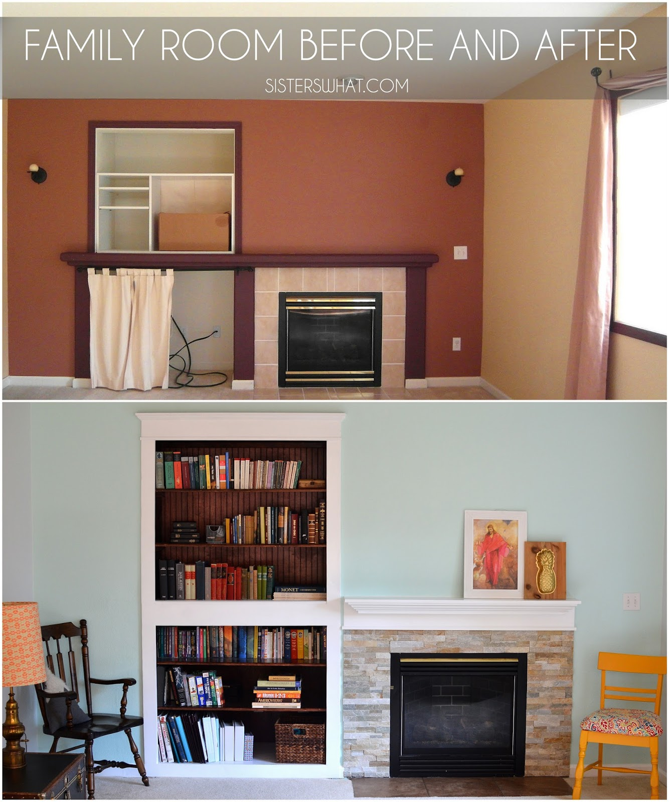 built in bookshelves and new mantel with tile around fire