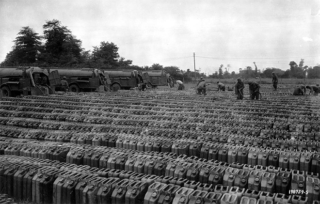 Photo of thousands of Jerrycans as Allies prepare for D-Day on Jun 05, 1944. Situation Normal, and other stories of The Better Defense. marchmatron.com