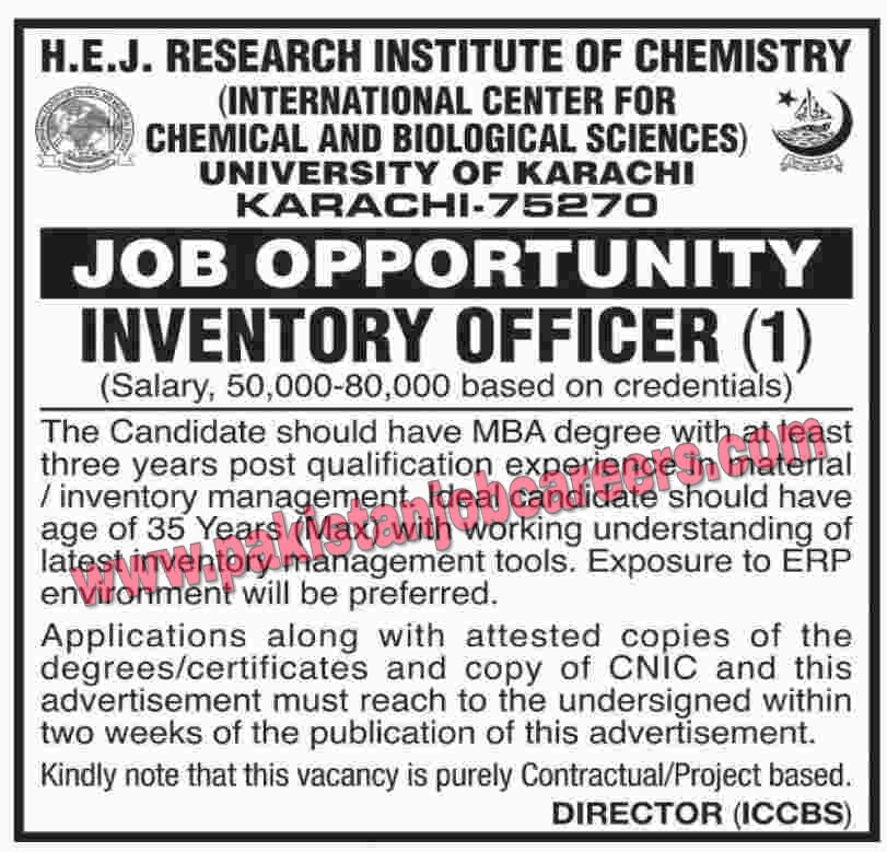 University of Karachi Jobs 2019 for Inventory Officer Latest
