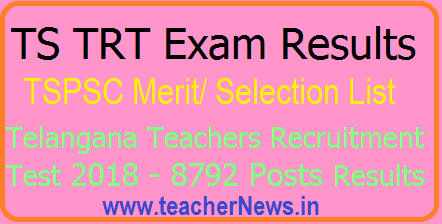 TS TRT Exam Results 2018 Merit/ Selection List, Online Certificate Verification | TRT 2018 Results