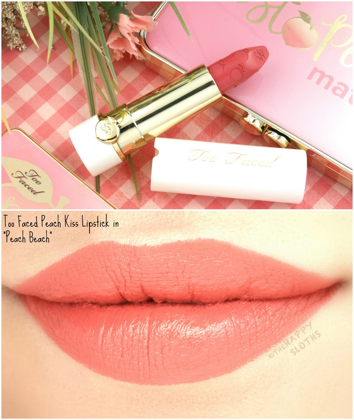 "Too Faced Peach Kiss Moisture Matte Long Wear Lipstick in ""Peach Beach"": Review and Swatches"