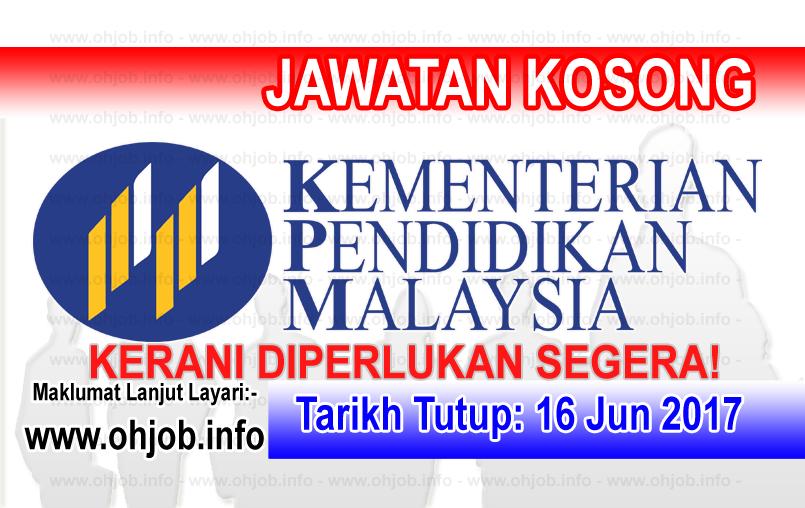 Jawatan Kerja Kosong Kementerian Pendidikan Malaysia - KPM logo www.ohjob.info jun 2017