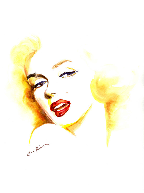 06-Marilyn-Monroe-Soo-Kim-Celebrity-Watercolor-Portraits-www-designstack-co