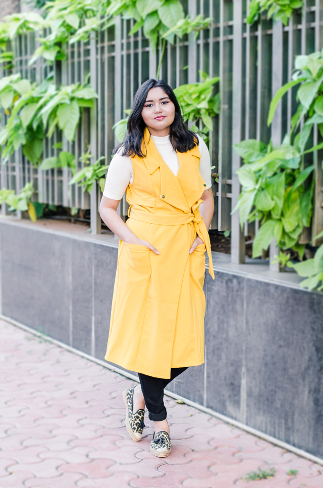 Yellow Duster Coat and Leopard Flats Outfit