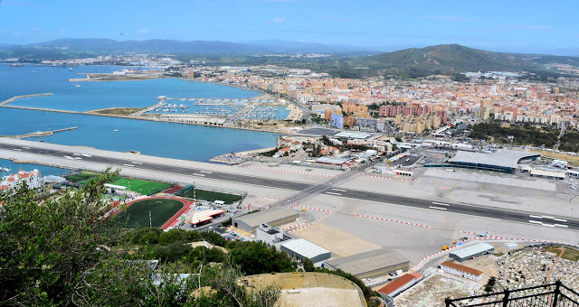 Aerial view of the Gibraltar Airport as seen from the Great Siege Tunnels.