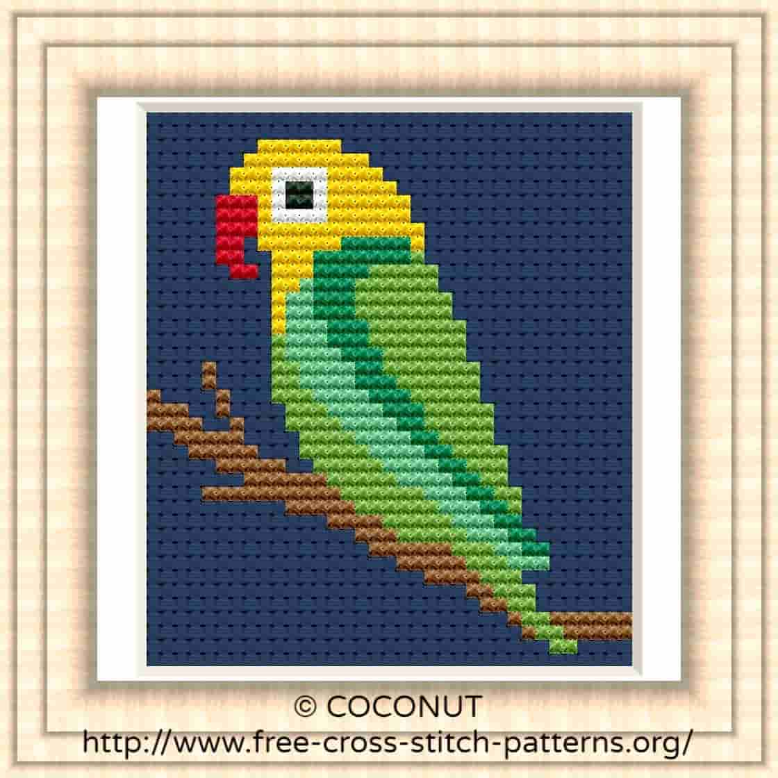 BIRD (19) , FREE AND EASY PRINTABLE CROSS STITCH PATTERN