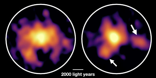 Monster galaxy COSMOS-AzTEC-1 observed with ALMA. ALMA revealed the distribution of molecular gas (left) and dust particles (right). In addition to the dense cloud in the center, the research team found two dense clouds several thousand light-years away from the center. These dense clouds are dynamically unstable and thought to be the sites of intense star formation. Credit: ALMA (ESO/NAOJ/NRAO), Tadaki et al.