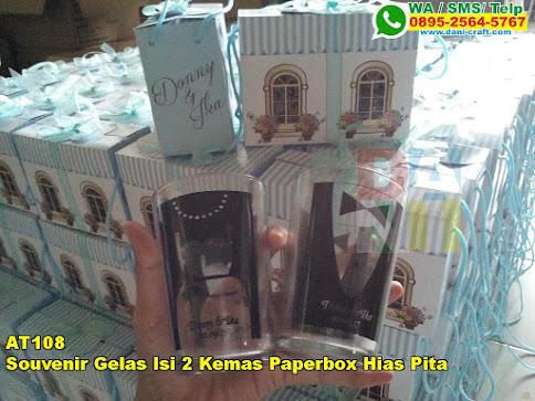 Grosir Souvenir Gelas Isi 2 Kemas Paperbox Hias Pita