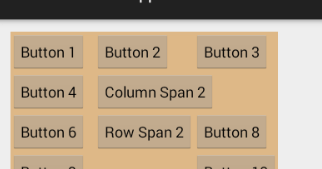 How to span columns and rows in a GridLayout in Android