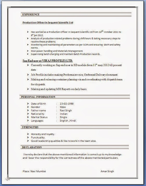 sap sd mm sample resume
