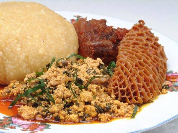 Eba And Egusi Soup (Efo Elegusi With Shaki) | Nigerianfoodies.com