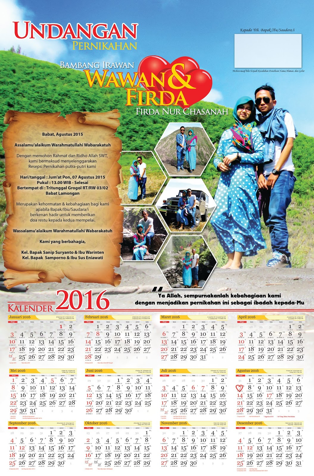 Nirwana Digital Print: Undangan Pernikahan Jenis Kalender ...