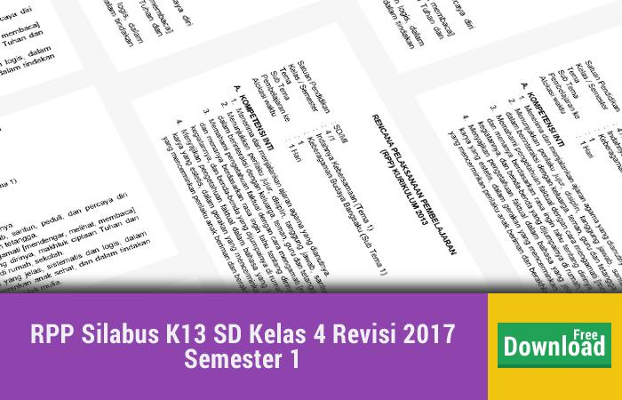 RPP Silabus K13 SD Kelas 4 Revisi 2017 Semester 1