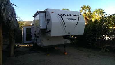 Our trailer parked in Los Barriles, BCS. on sloping ground.