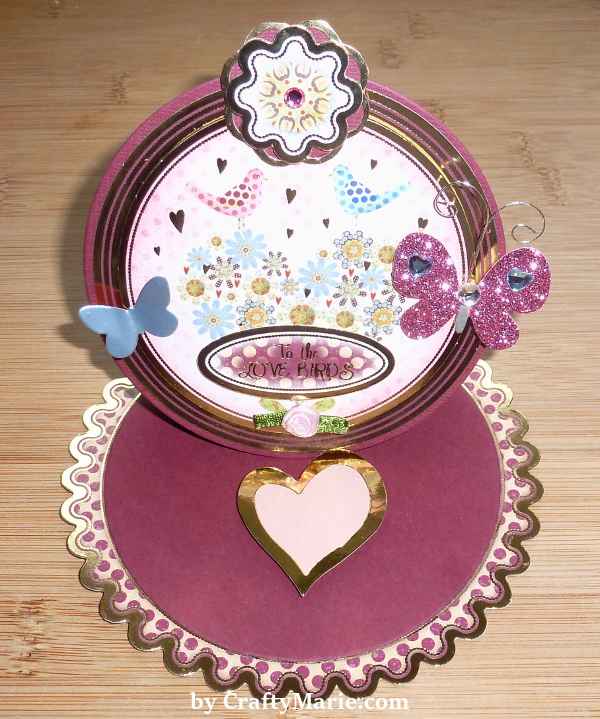 Hunkydory Easel Card With Free Sweet Treats Card Collection circle round easel card birds anniversary love theme