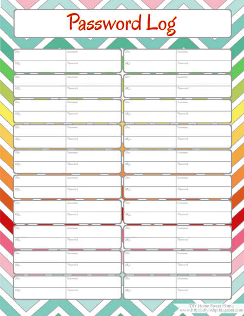 Diy home sweet home home management binder password log for Diy to do list template