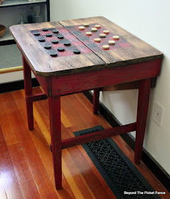use a buffalo check stencil to make a checkerboard table