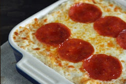 KETO PEPPERONI PIZZA CAULIFLOWER CASSEROLE