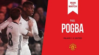 Paul Pogba Man of the Match Crystal Palace vs Manchester United 1-2
