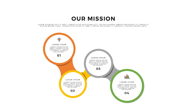Free Infographic PowerPoint Template for Our Mission Presentation with 4 Circular Diagrams