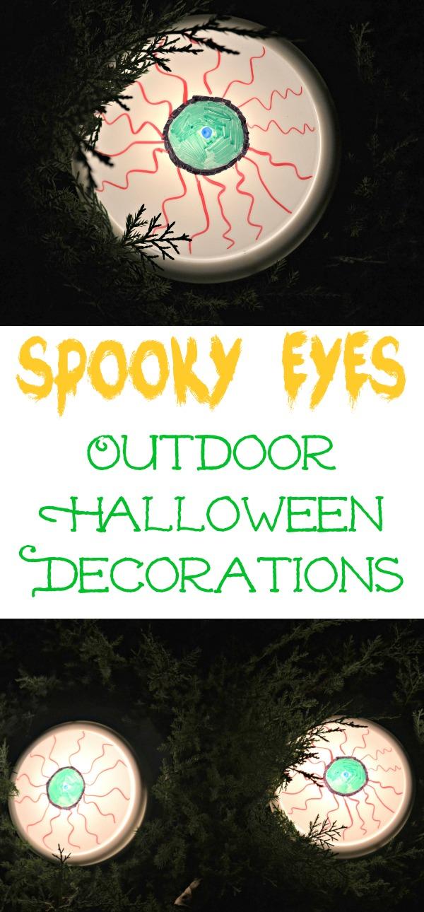 Spooky Eyes Outdoor Halloween DIY Decor, DIY halloween decorations, Spooky eyes lights, halloween eye lights, yard decor for halloween, easy halloween decorations, fun halloween decorations
