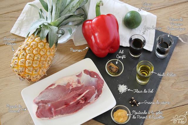 Magret de Canard Ananas Poivron Plat principal Recette Sucrée Salée