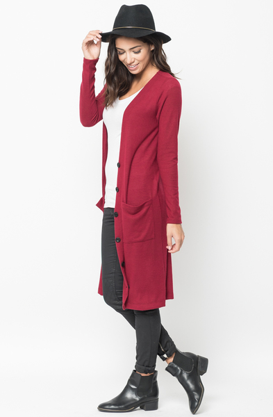Shop for Red Everyday Maxi Cardigan Front Pockets and Full Length Sleeves Online - $44 - on caralase.com
