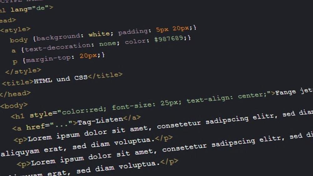 Code auf schwarzem Hintergrund