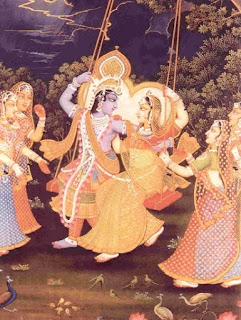 Krishna and Radha on a swing, surrounded by the gopis.