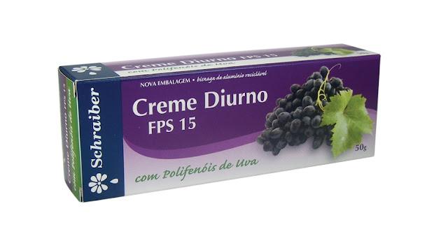 Creme Diurno FPS 15 Schraiber, com Polifenois de Uva