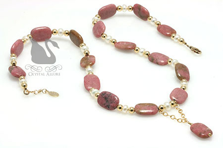 Freshwater Pearl Rhodonite Gemstone Beaded Necklace (N071)