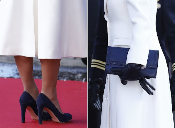 Princess Victoria carried QUIDAM Alligator Clutch, wore Gianvito Rossi suede blue Pumps