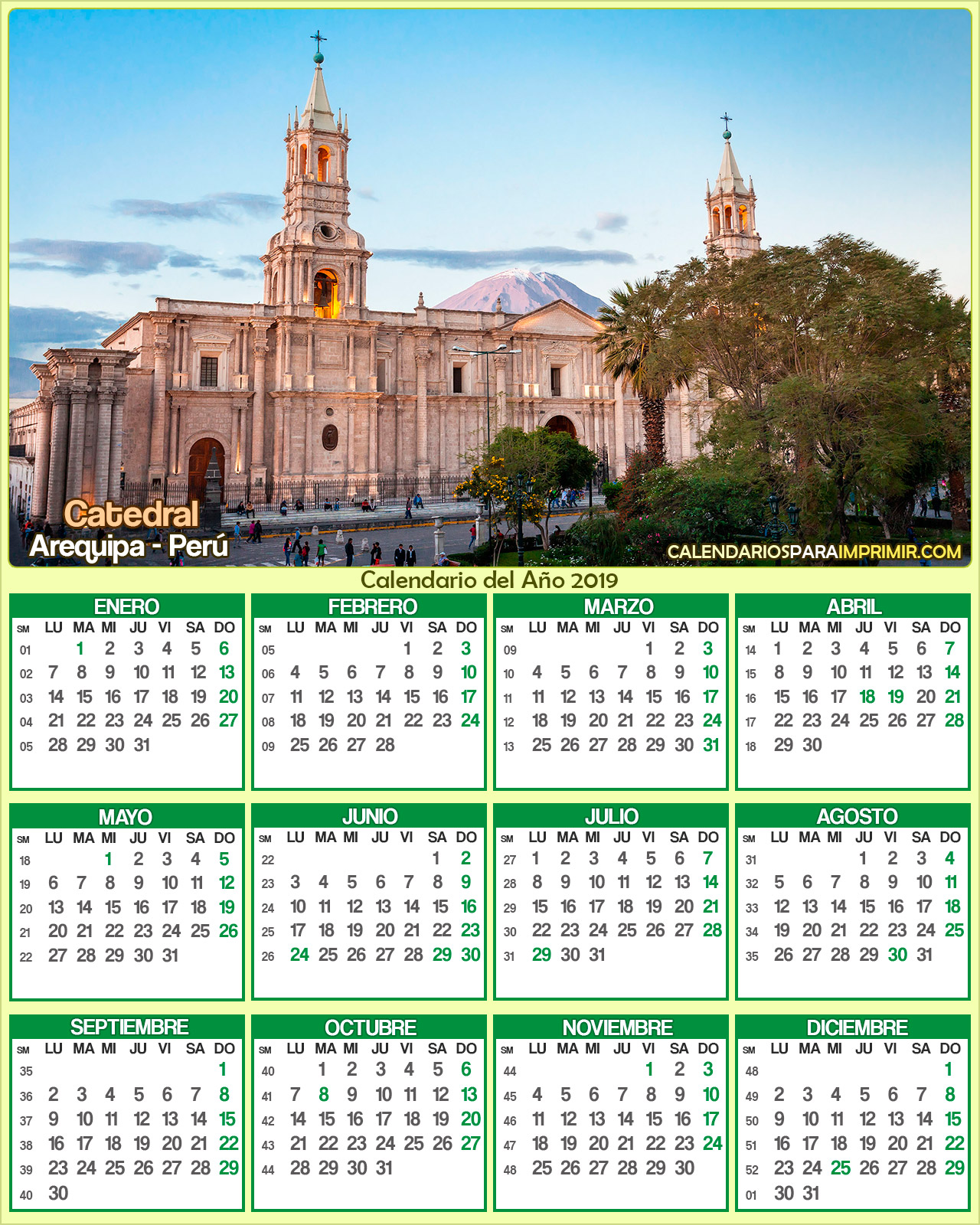 calendario peru 2019 arequipa