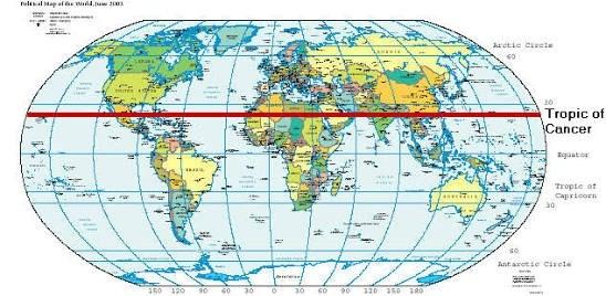 विश्व के तमाम देशों से गुज़रती कर्क रेखा, Tropic of Cancer passing through Various Countries