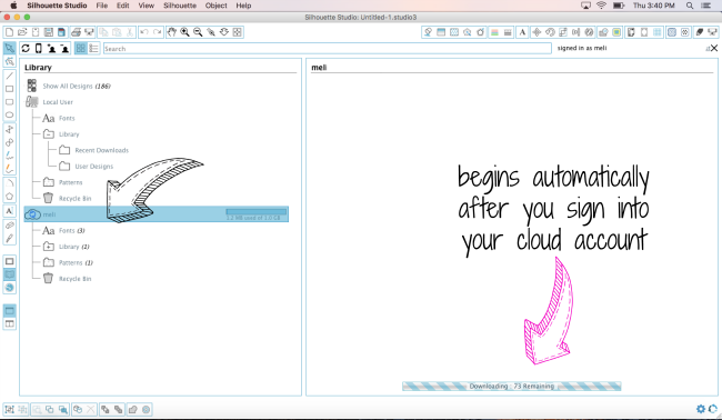synching silhouette studio cloud library