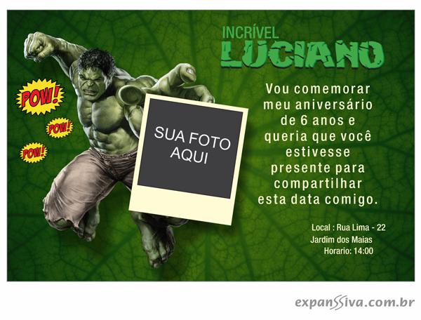 Convite Criativo Hulk