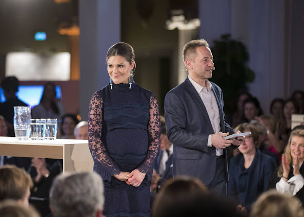 Pregnant Crown Princess Victoria attend at the presentation of the Global Change Award held at Stockholm City Hall in Stockholm