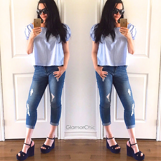off the shoulder top, denim, zara shoes, blue top, navy shoes