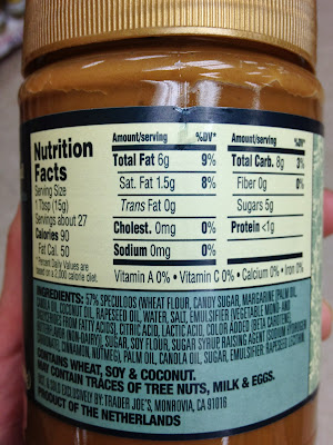Nutrition Facts for Cookie Butter