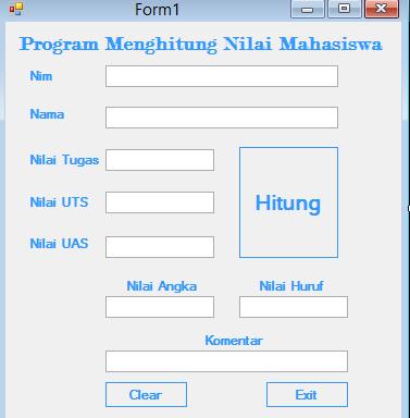 Visual Basic 2010 Menghitung Nilai Mahasiswa Lengkap Tutorialswb