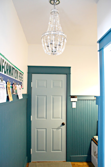 Peacock blue walls with trim