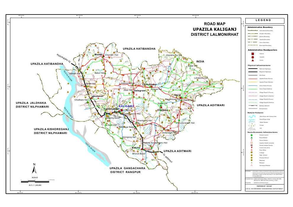Kaliganj Upazila Road Map Lalmonirhat District Bangladesh