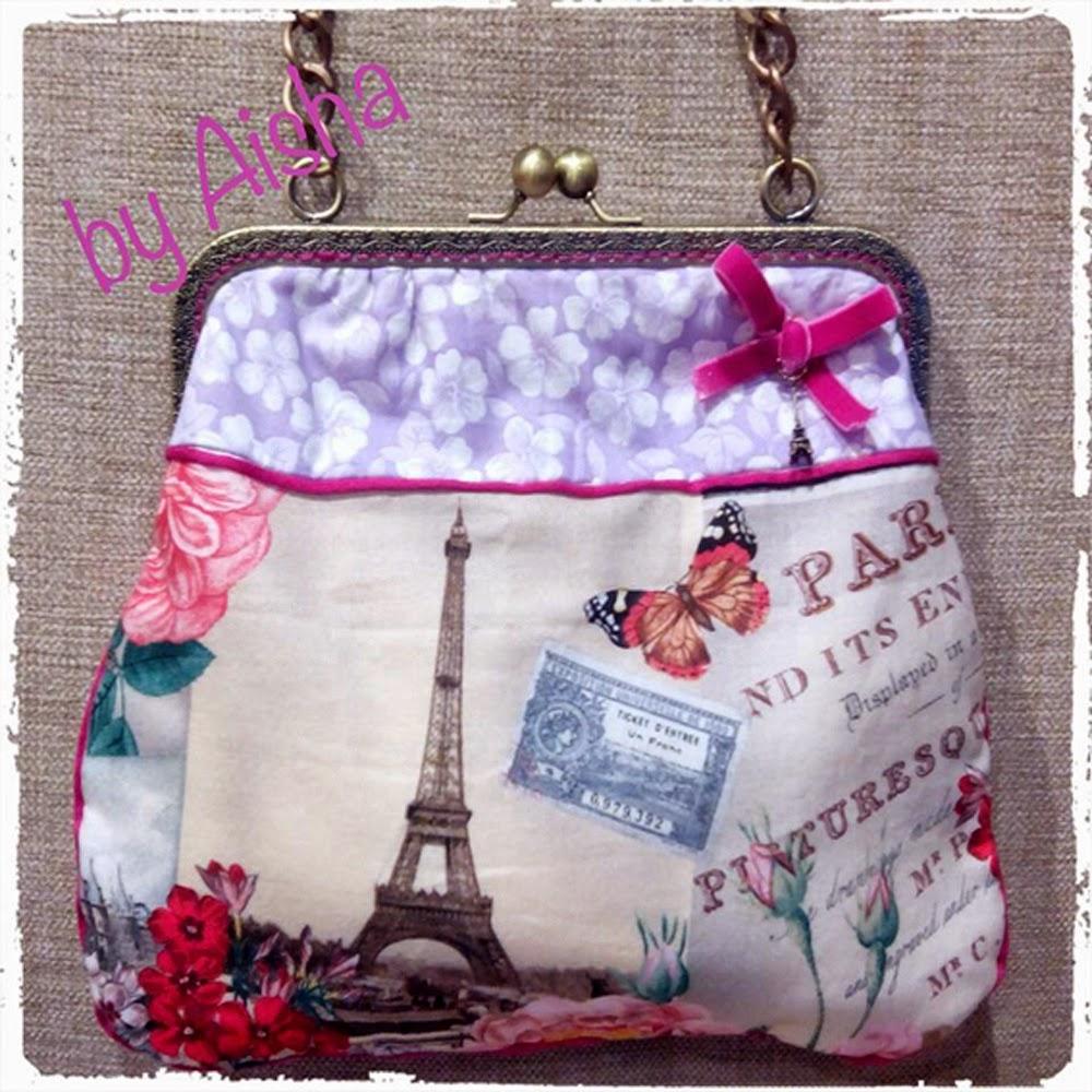 bolso con boquilla metalica Paris , hecho a mano