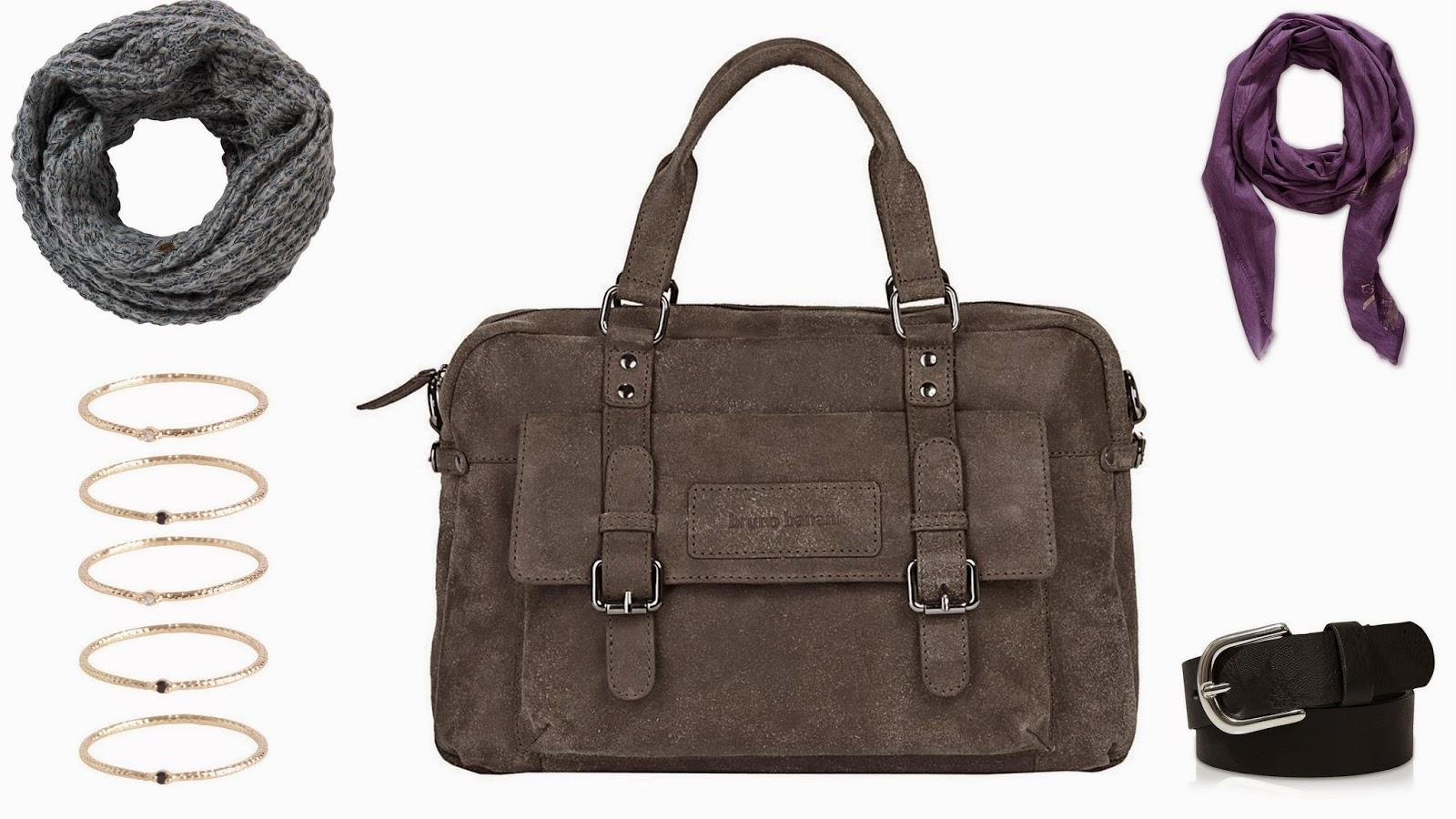 Снуд Tom Tailor, кольца Pieces Kombi , сумку Bruno Bananni, ремень S.Oliver и платок S.Oliver