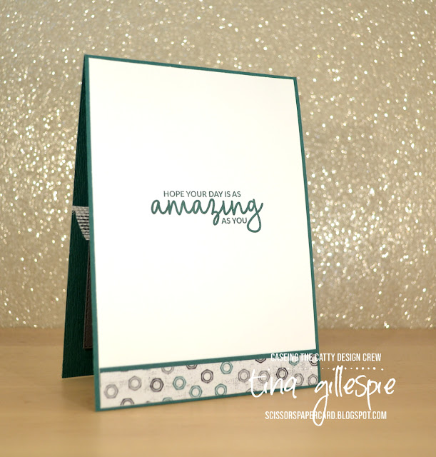 scissorspapercard, Stampin' Up!, CASEing The Catty, Well Said, Incredible Like You, Well Written Framelits, Rectangle Stitched Framelits, Subtle DTIEF, Classic Garage DSP, Neutrals DSP, Sweet Pins & Tags