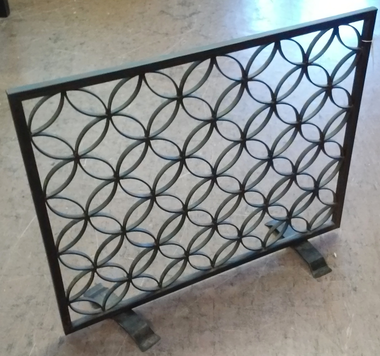 Uhuru Furniture Collectibles Sold 32 X 26 Wrought Iron Fireplace Screen 30