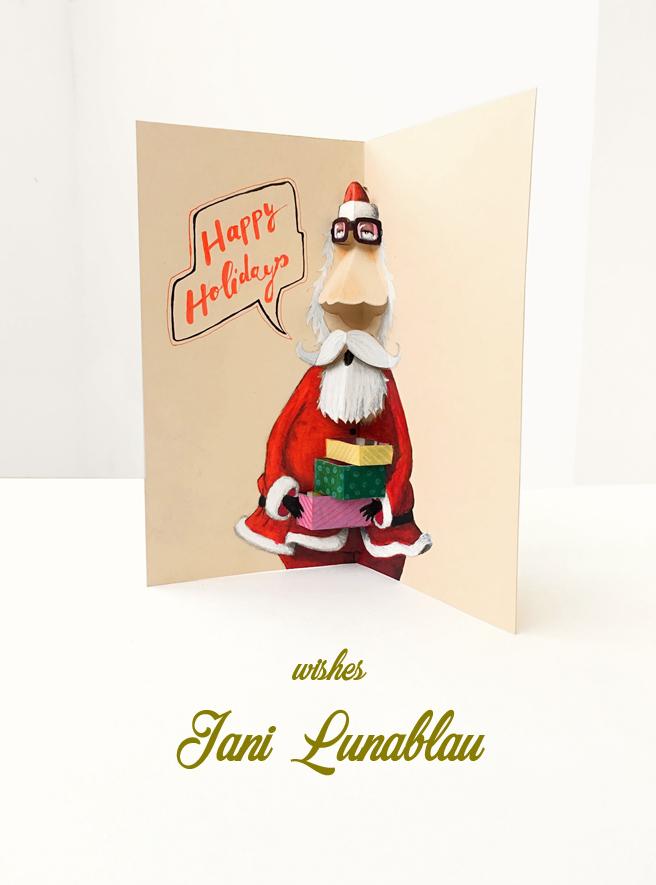 Merry Christmas... a Nerd card by Jani Lunablau. Pop-up card.
